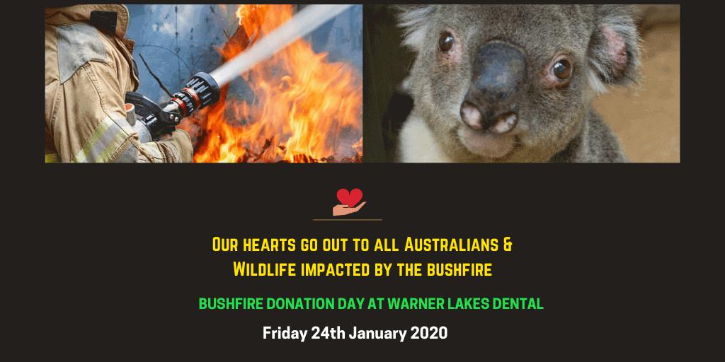 bushfire donation day at warner lakes dental banner