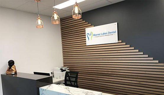 warner lakes dental reception area dentist warner
