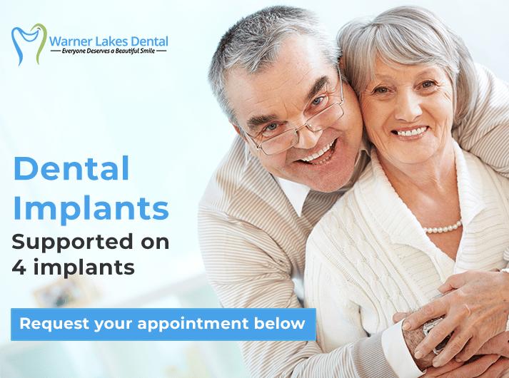 supported on 4 dental implants in warner banner
